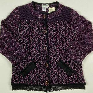 Coldwater Creek NWT Black Purple Lace Cardigan XL